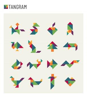 Insieme di puzzle di trasformazione di taglio del gioco del cervello dei bambini del tangram