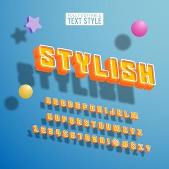 Insieme di raccolta di alfabeto di testo di carattere brillante colorato pop pop alla moda cool prospettiva isometrica 3d