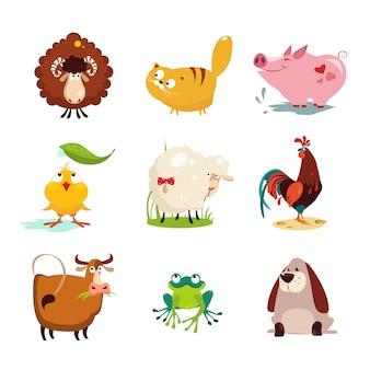 Insieme di raccolta di animali da fattoria e uccelli