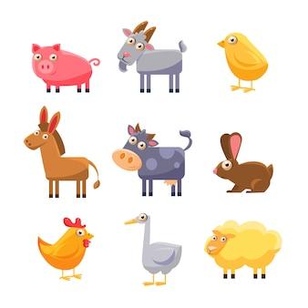 Insieme di raccolta di animali da fattoria
