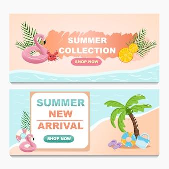 Insieme di raccolta di design banner estate vendita promozione.