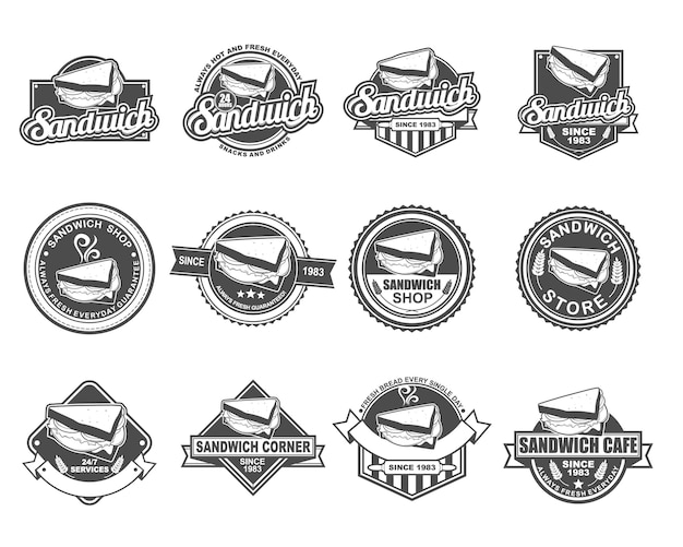 Insieme di raccolta di design distintivo di vettore per sandwich store