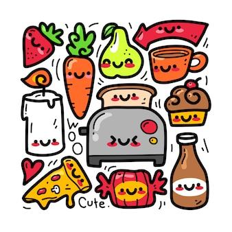 Insieme di raccolta di doodle di elemento casuale