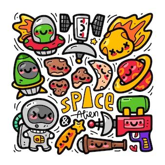 Insieme di raccolta di doodle di spazio ed elemento alieno
