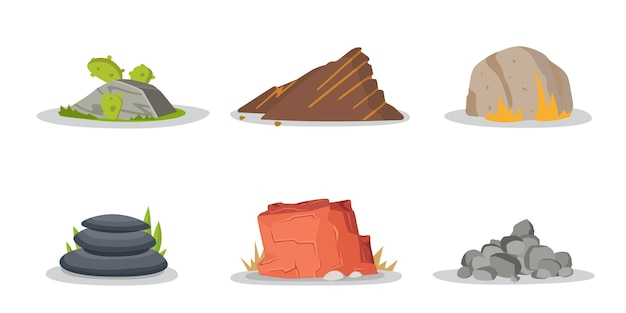 Insieme di raccolta di elementi di rocce e pietre