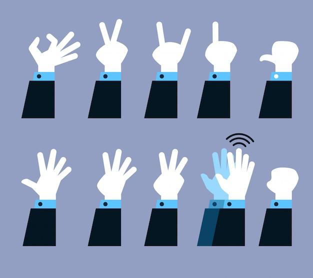 Insieme di raccolta di vettore del gesto della mano piatta.