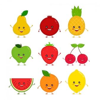 Insieme di raccolta divertente divertente della frutta cruda sorridente felice sveglio illustrazione del personaggio dei cartoni animati di stile piano isolato su priorità bassa bianca concetto di frutta, mela, ananas, fragola, pera, ciliegia, anguria, limone