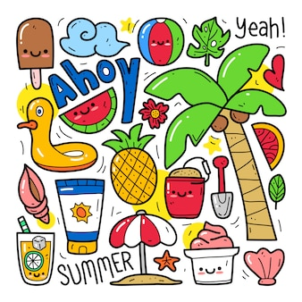 Insieme di raccolta doodle di elemento estivo