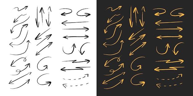 Insieme di raccolta linea matita pennello freccia nera e oro