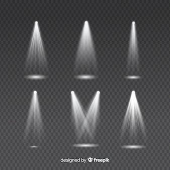 Insieme di raggi di luce per l'illuminazione bianca su trasparente