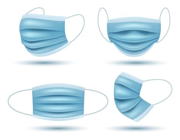Insieme di realistico medico protettivo della maschera di protezione isolato su fondo bianco. illustrazione