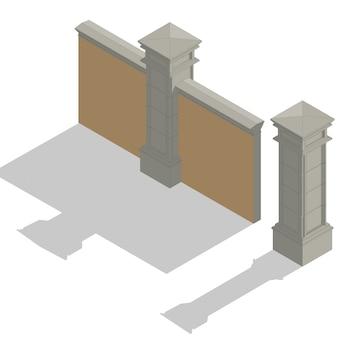 Insieme di recinzione isometrica di vettore, kit di costruzione