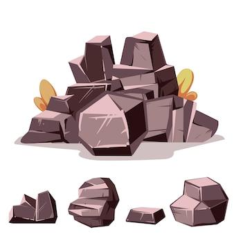 Insieme di rocce stile piano isometrico 3d dei cartoni animati