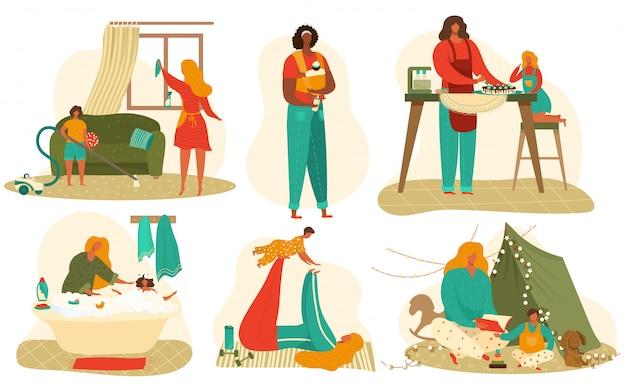 Insieme di routine quotidiano del bambino e della madre delle illustrazioni piane isolate su bianco.