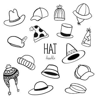 Insieme di scarabocchi cappello disegnato a mano