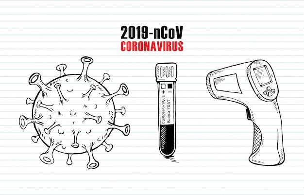 Insieme di scarabocchio del virus della corona su fondo di carta