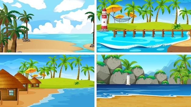 Insieme di scene di natura oceano tropicale con spiagge