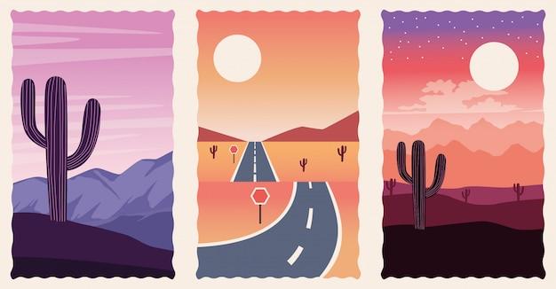Insieme di scene piane di paesaggi deserti