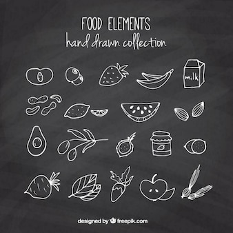 Insieme di schizzi di frutta e verdura con effetto lavagna
