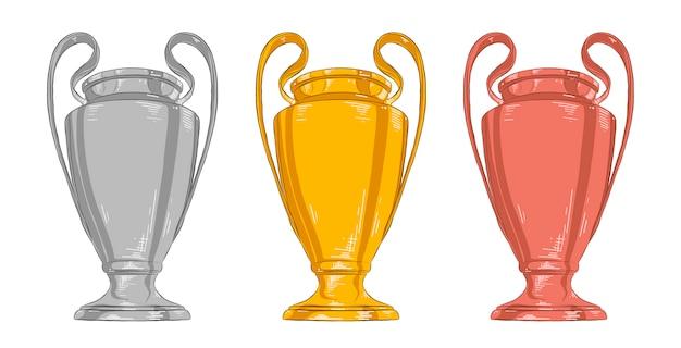 Insieme di schizzi disegnati a mano della coppa del campione