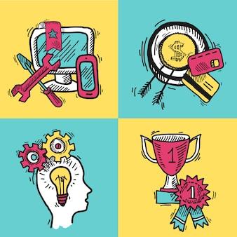 Insieme di schizzo colorato di vendita di internet di seo