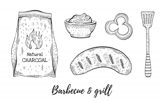Insieme di schizzo del menu del ristorante grill e barbecue.