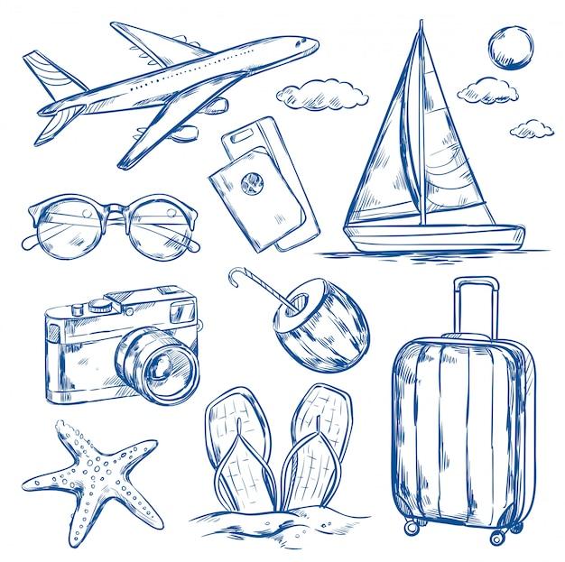 Insieme di schizzo di elementi di viaggio