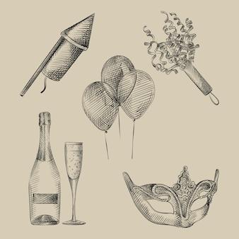 Insieme di schizzo disegnato a mano di attributi di vacanza, celebrazione e festa. il set comprende palloncini, una bottiglia di champagne, un bicchiere di champagne, una maschera di carnevale, un razzo pirotecnico, coriandoli