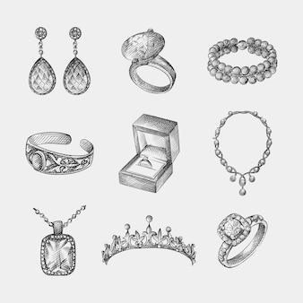Insieme di schizzo disegnato a mano di gioielli vintage e bigiotteria. il set include orecchini, anello con diamanti, bracciale, collana, diadema, anello di fidanzamento nella scatola, collana con pendente, anello con una pietra