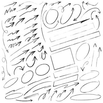 Insieme di scrittura di doodle disegnato a mano cerchi e rettangoli di frecce