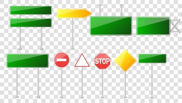 Insieme di segnali stradali isolato su sfondo trasparente.