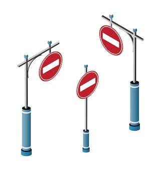 Insieme di segnali stradali isometrici della città