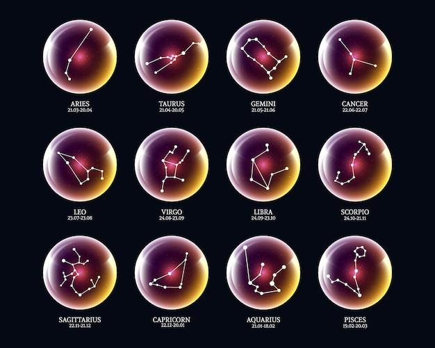Insieme di segni della costellazione dello zodiaco in sfere luminose