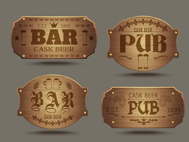 Insieme di segni di bar di pub in legno