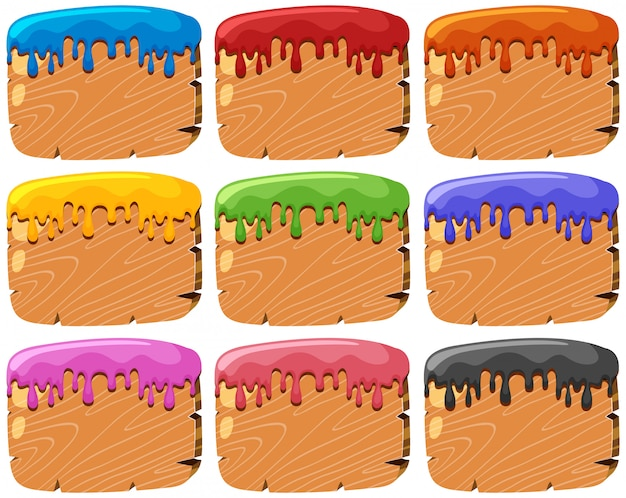 Insieme di segni di legno schizzati di vernice