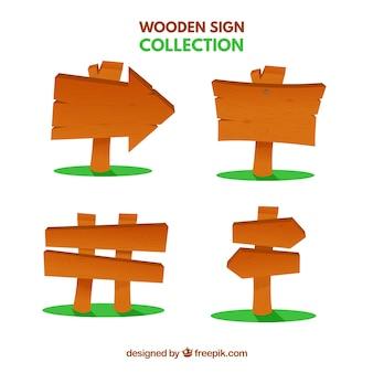 Insieme di segni di legno