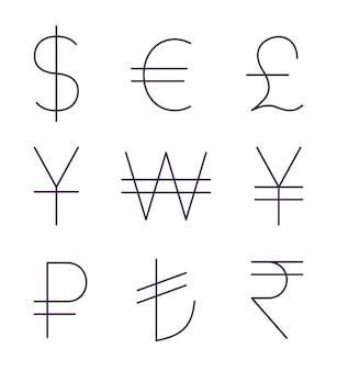 Insieme di segni di valuta sottili