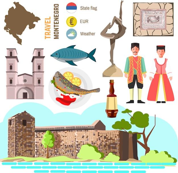 Insieme di simboli della cultura del montenegro.