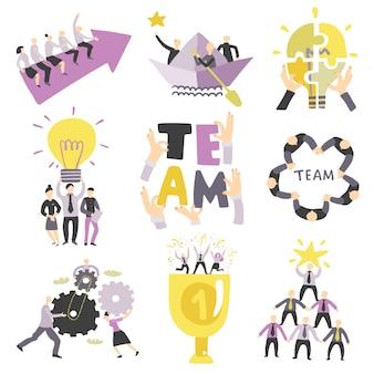 Insieme di simboli di lavoro di squadra