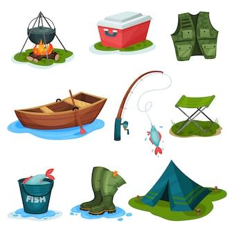 Insieme di simboli di sport di pesca, illustrazioni dell'attrezzatura di attività all'aperto su un fondo bianco