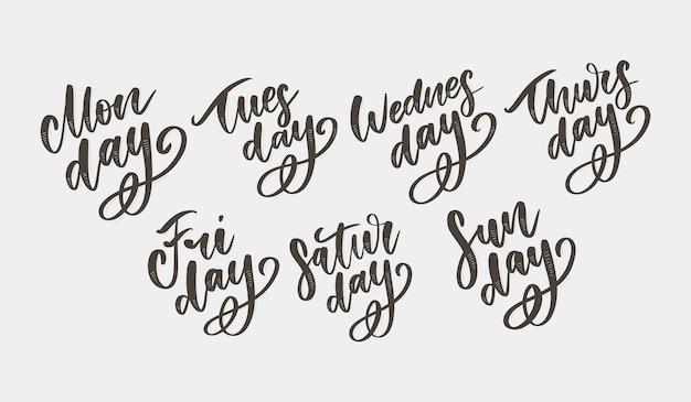 Insieme di simboli e giorni della settimana scritti a mano