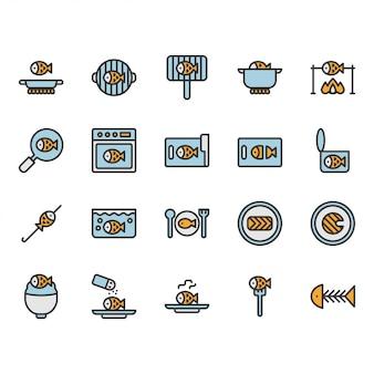 Insieme di simboli e icona di cibo e cucina di pesce