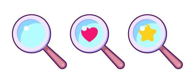 Insieme di simboli variopinto della lente di ingrandimento del fumetto. lente d'ingrandimento con icona stella e cuore. game design, elementi dell'interfaccia utente. cerca il concetto di amore