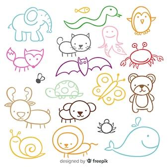 Insieme di simpatici animali disegnati a mano