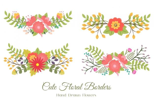 Insieme di simpatici bordi floreali