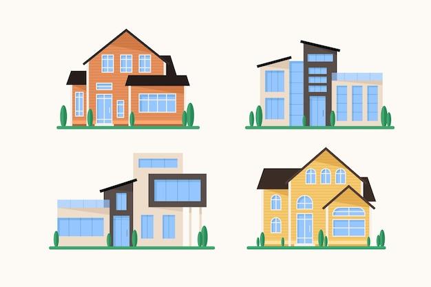 Insieme di stile di architettura della casa