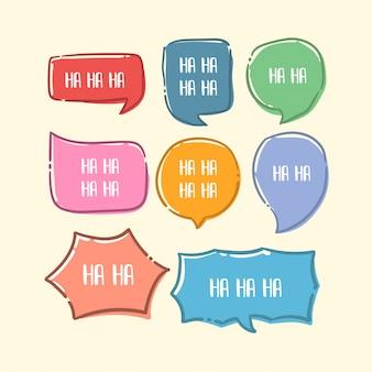 Insieme di stile di arte di linea colorata disegnata a mano della bolla di discorso carino