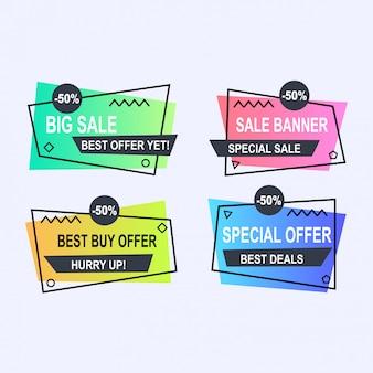Insieme di stile di banner di vettore memphis geometrica piana. etichetta di prezzo di offerta di sconto, vendita promozionale di vendita