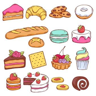 Insieme di stile disegnato icone colorate panificio in mano. cibo dolce.