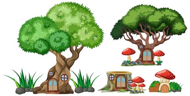 Insieme di stile isolato del fumetto delle case del ceppo e dell'albero su fondo bianco